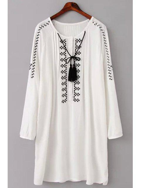 lady Embroidery Long Sleeve Scoop Neck Dress - WHITE M Mobile