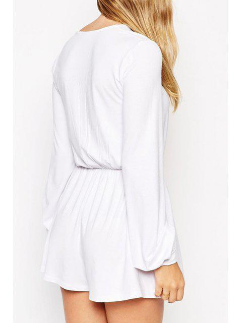 ladies Plunging Neck Lace-Up Romper - WHITE M Mobile
