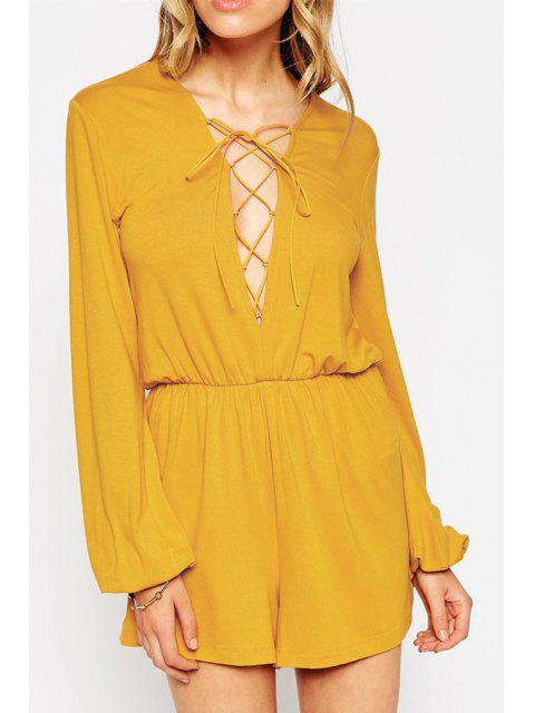 shops Plunging Neck Lace-Up Romper - YELLOW XL Mobile