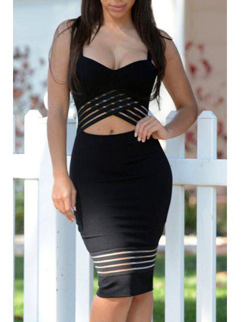 latest Midriff-Baring Bodycon Strap Dress - BLACK S Mobile