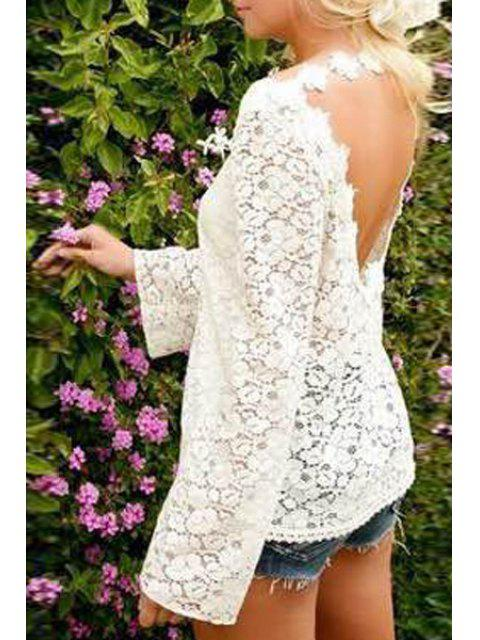 womens Openwork Lace Hook Low Back T-Shirt - WHITE M Mobile