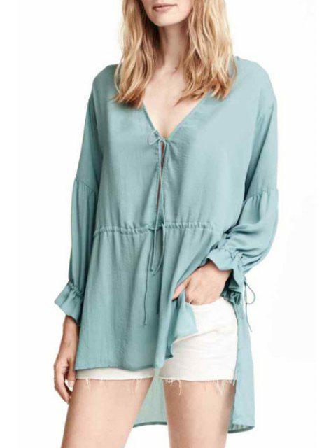 buy Tie-Up High Low Long Sleeve Blouse - GREEN L Mobile