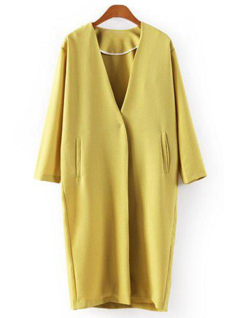 shops Yellow Plunging Neck Long Sleeve Coat - YELLOW M Mobile