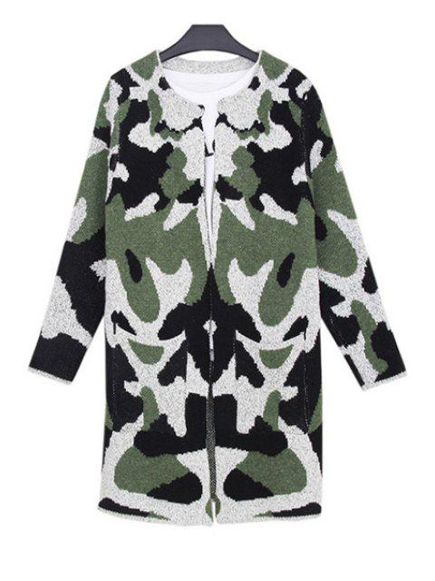 online Camouflage Pattern Big Pocket Long Cadigan - ARMY GREEN ONE SIZE(FIT SIZE XS TO M) Mobile