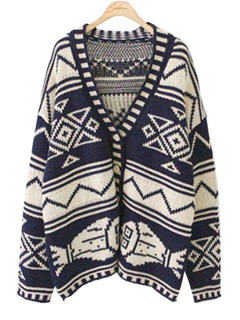 womens Open Front Geometric Pattern Cardigan - PURPLISH BLUE ONE SIZE(FIT SIZE XS TO M) Mobile