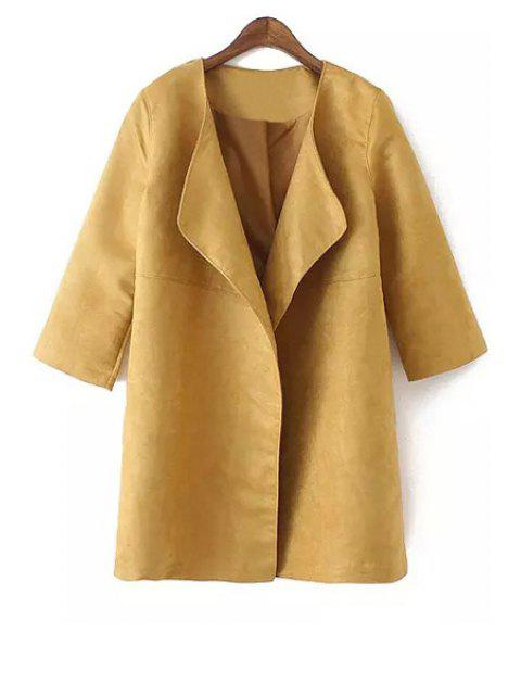 fashion Turn-Down Collar Faux Suede 3/4 Sleeve Trench Coat - KHAKI L Mobile