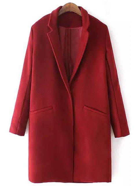 online Lapel Pure Color Pocket Long Sleeve Trench Coat - WINE RED M Mobile