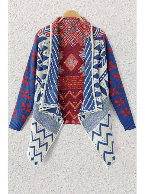 fashion Shawl Neck Geometric Pattern Cardigan - BLUE ONE SIZE(FIT SIZE XS TO M) Mobile