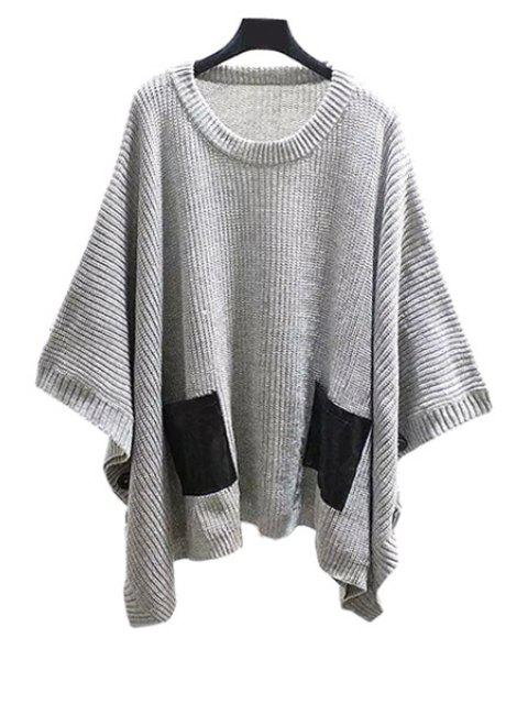 shop Scoop Neck Batwing Long Sleeve Sweater - GRAY ONE SIZE(FIT SIZE XS TO M) Mobile