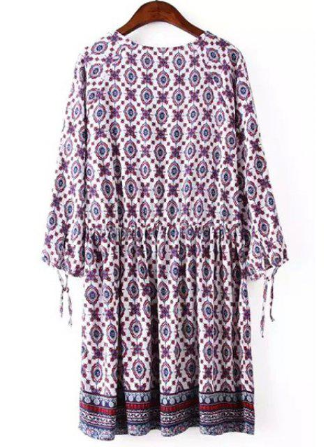 hot V Neck Printed Tie-Up 3/4 Sleeve Dress - VIOLET ROSE S Mobile