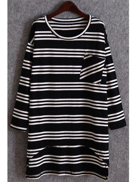 women's Striped Pocket Irregular Hem T-Shirt - BLACK ONE SIZE(FIT SIZE XS TO M) Mobile