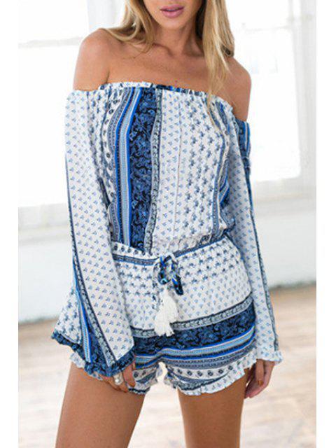 Slash Neck Tiny Floral Tie-Up Romper - Bleu et Blanc M Mobile