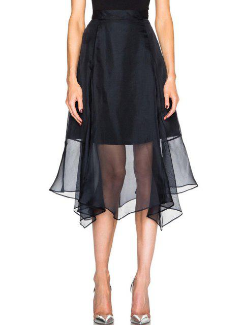 sale Solid Color Chiffon Splicing Skirt - BLACK ONE SIZE(FIT SIZE XS TO M) Mobile