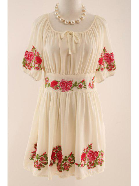fancy Half Sleeve Flower Embroidered Dress - APRICOT L Mobile
