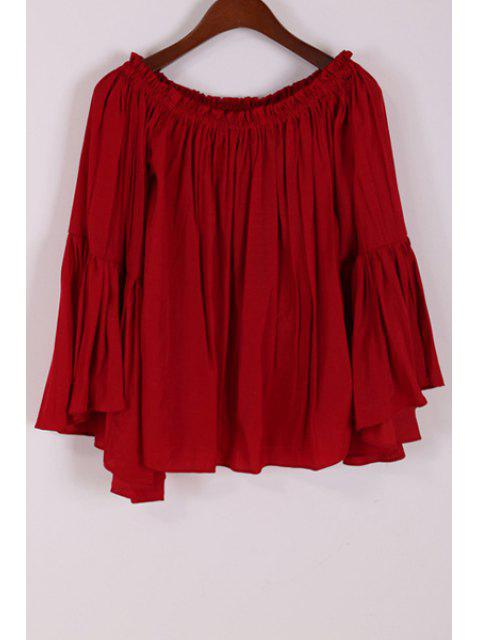 affordable Off-The-Shoulder Bell Sleeve Loose Blouse - CLARET ONE SIZE(FIT SIZE XS TO M) Mobile