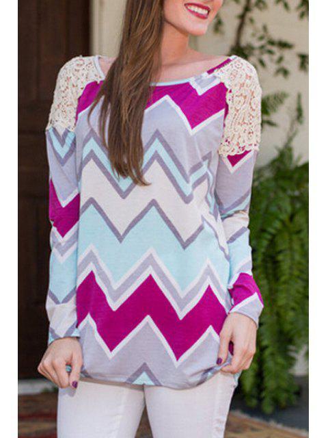 women's Zig Zag Print Long Sleeve T-Shirt - COLORMIX L Mobile