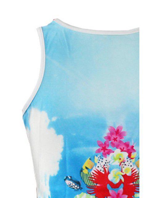 shops Fish Print Scoop Neck Sundress - WATER BLUE M Mobile