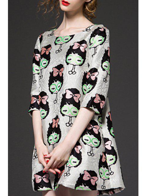 shops 3/4 Sleeve Cartoon Pattern Jacquard Dress - COLORMIX XL Mobile