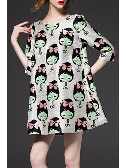 shops 3/4 Sleeve Cartoon Pattern Jacquard Dress - COLORMIX XL Mobile