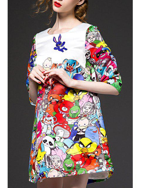 chic Half Sleeve Colorful A-Line Dress - WHITE XL Mobile