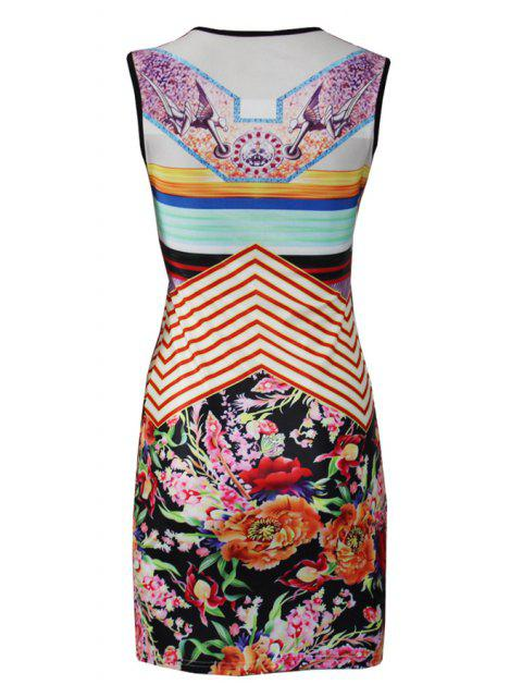 sale Flower Print Round Collar Sleeveless Dress - COLORMIX S Mobile