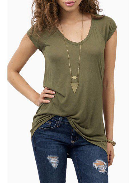 shops Short Sleeve Army Green T-Shirt - ARMY GREEN XL Mobile