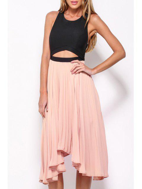 ladies Scoop Neck Backless Color Block Sleeveless Dress - PINK ONE SIZE(FIT SIZE XS TO M) Mobile