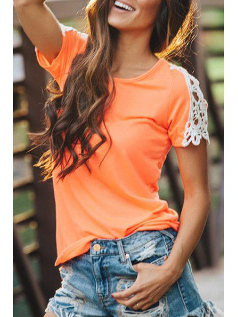 buy Lace Splicing Short Sleeves T-Shirt - JACINTH L Mobile