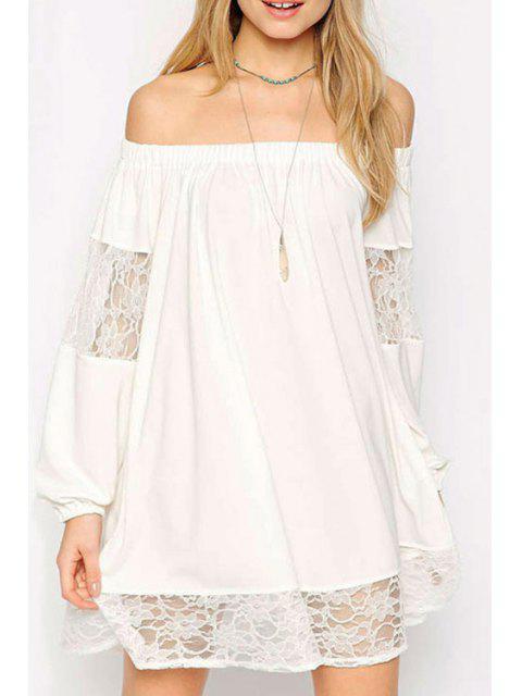 buy Lace Spliced Slash Collar Long Sleeve Dress - WHITE XL Mobile