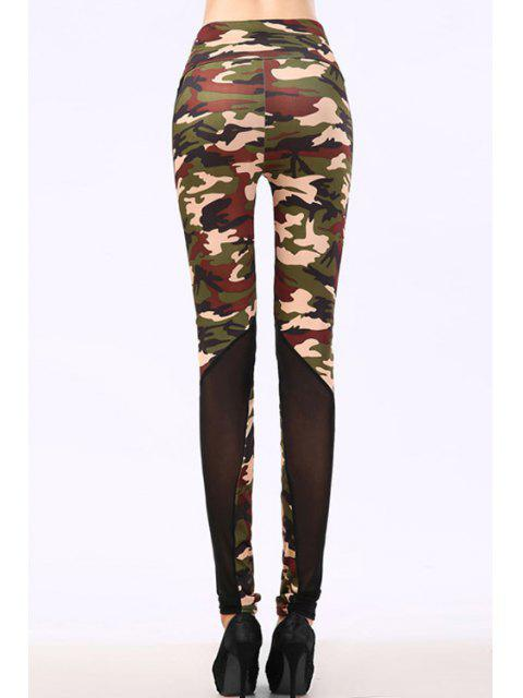 hot Camo Voile Splicing Narrow Feet Leggings - ARMY GREEN ONE SIZE(FIT SIZE XS TO M) Mobile