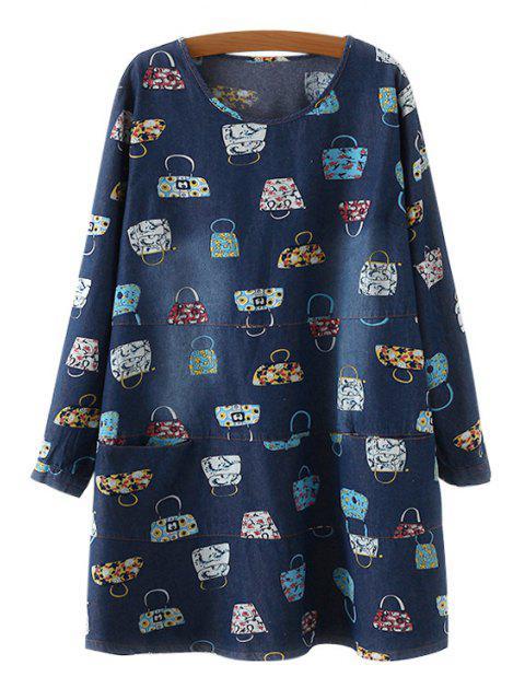 womens Long Sleeve Handbag Print Denim Dress - BLUE ONE SIZE(FIT SIZE XS TO M) Mobile