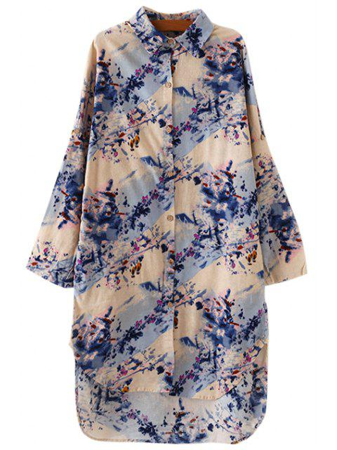 fancy Shirt Collar Floral Print Dress - BLUE ONE SIZE(FIT SIZE XS TO M) Mobile