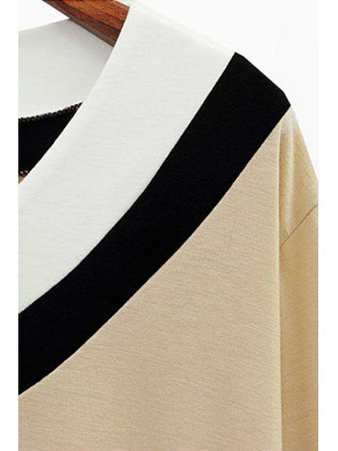 outfit V Neck Color Block Stripe T-Shirt - WHITE 5XL Mobile