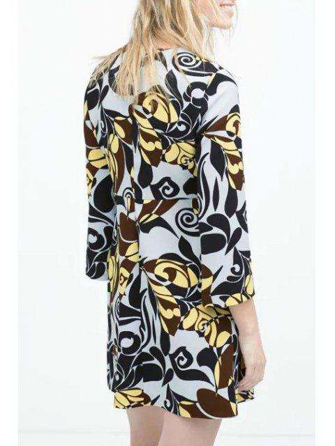 outfits Flower Print Round Neck Long Sleeve Dress - AS THE PICTURE S Mobile
