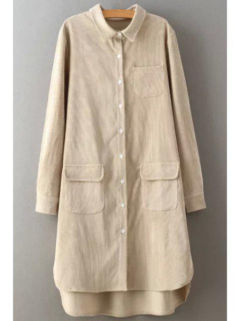 women Corduroy Turn Down Collar Long Sleeve Shirt - CRYSTAL CREAM L Mobile