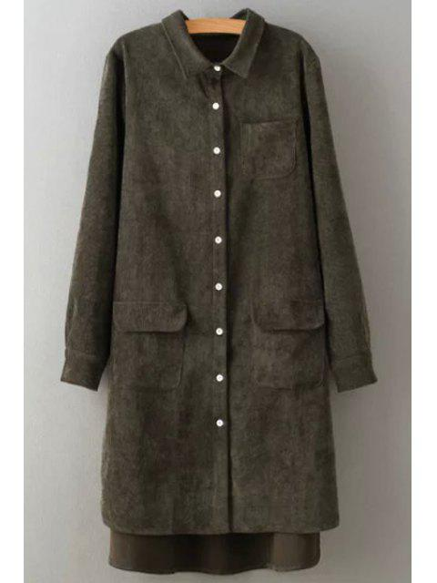 lady Corduroy Turn Down Collar Long Sleeve Shirt - BLACKISH GREEN M Mobile