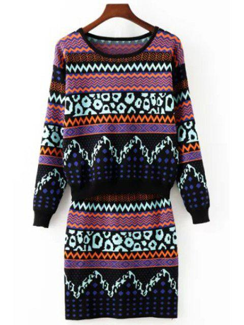 fancy Zig Zag Long Sleeve Sweater and Knit Skirt Suit - COLORMIX ONE SIZE(FIT SIZE XS TO M) Mobile