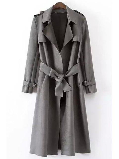 outfit Faux Leather Lapel Long Sleeve Coat - GRAY L Mobile