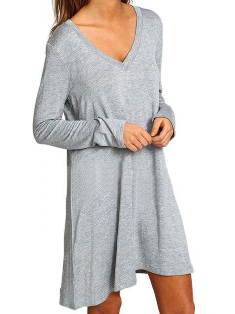 latest Gray V Neck Long Sleeve Dress - GRAY L Mobile