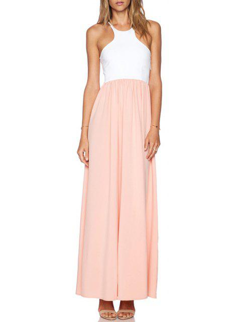 new Spaghetti Strap Spliced Chiffon Dress - PINK AND WHITE XL Mobile