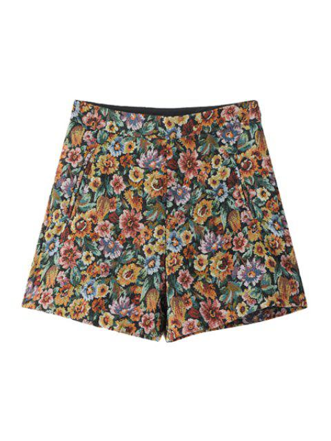 best Flower Pattern High Waisted Shorts - COLORMIX L Mobile