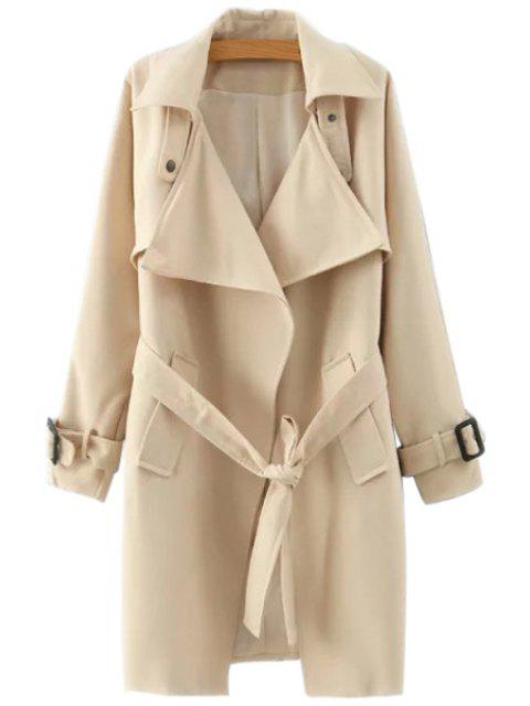 chic Lapel Belted Solid Color Coat - KHAKI S Mobile