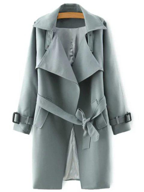 sale Lapel Belted Solid Color Coat - GRAY S Mobile