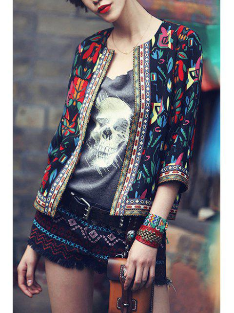 women's Colorful Floral Print 3/4 Sleeve Coat - BLACK S Mobile
