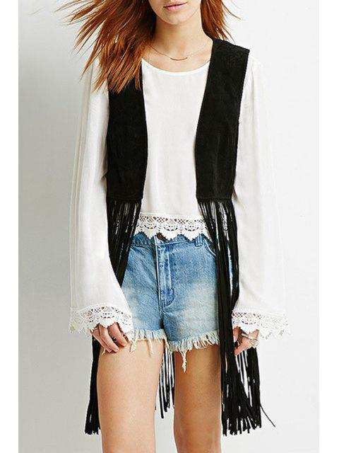 outfit Black Tassels Collarless Waistcoat - BLACK XL Mobile