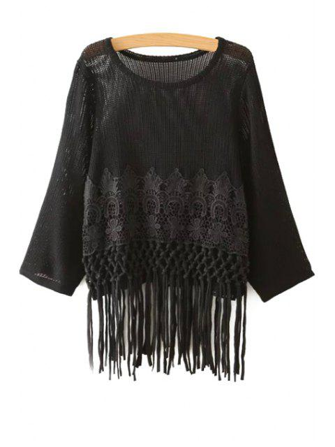 hot Crochet Flower Tassels Sweater - BLACK ONE SIZE(FIT SIZE XS TO M) Mobile