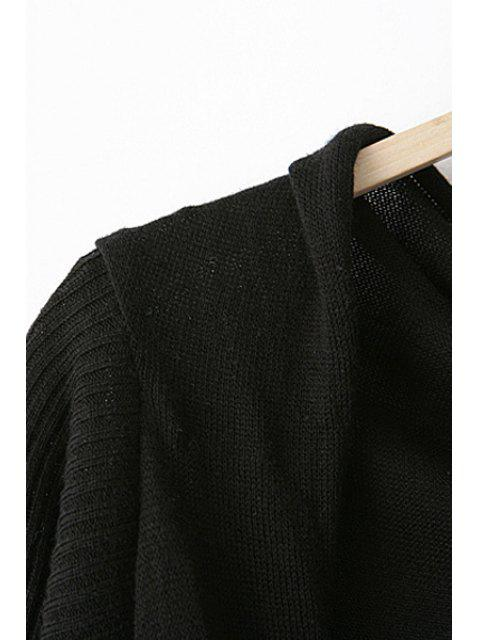 online Open Front Striped Asymmetric Cardigan - BLACK M Mobile