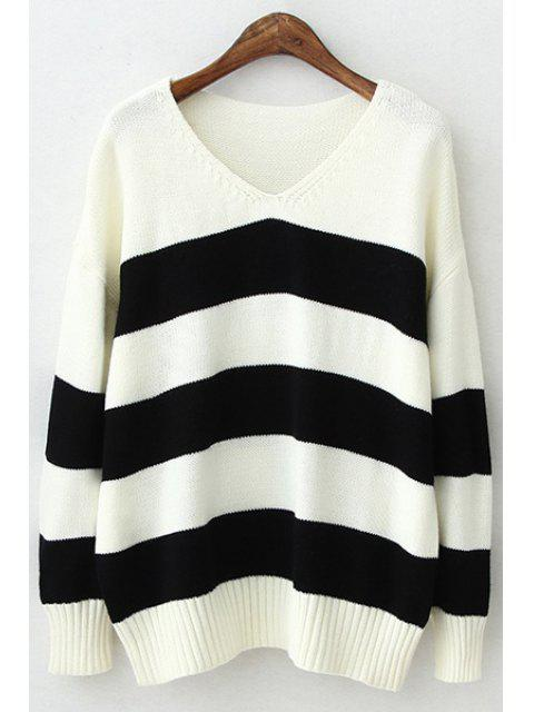 best V-Neck Color Block Stripes Sweater - BLACK ONE SIZE(FIT SIZE XS TO M) Mobile