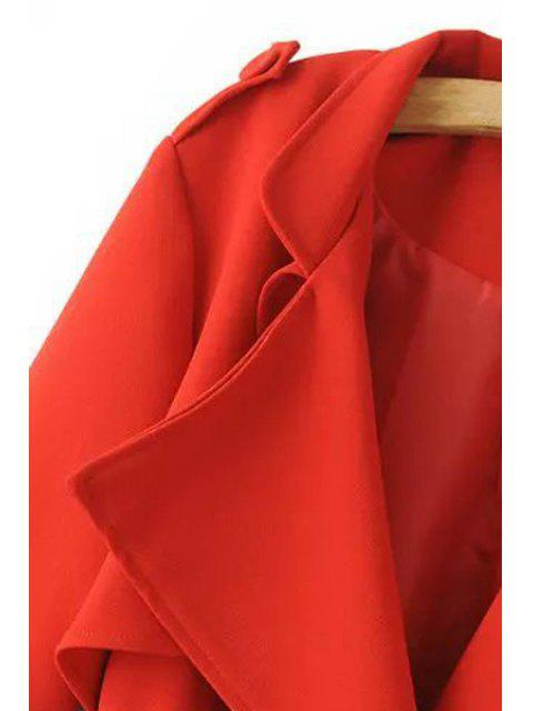 buy Turn-Down Collar Belt Pure Color Trench Coat - RED S Mobile