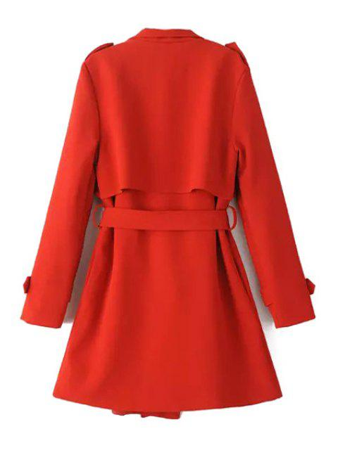 womens Turn-Down Collar Belt Pure Color Trench Coat - RED M Mobile